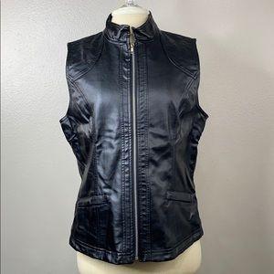Multiples black vegan leather vest, size medium